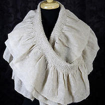 Nwt Express Beige Massive Infinity Gold Sparkling Knit Ruffle Scarf Wrap 16