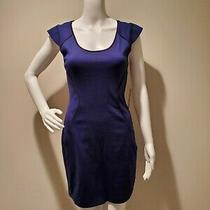 Nwt Express Blue Black Piped Bodycon Dress Back Zipper 4 Photo