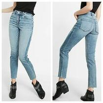 Nwt Express Blue High Waisted Contrast Stripe Super Skinny Ankle Jeans 10 Short Photo
