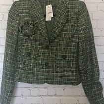 Nwt Express Design Studio Womens Size 4 Green Plaid Wool Blend Blazer 2 Button Photo