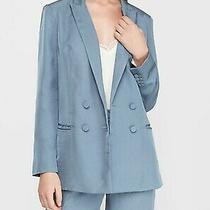 Nwt Express Double Breasted Boyfriend Blazer Chambray Blue Size Xs - Final Photo
