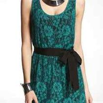Nwt Express Elastic Waist Green Black Lace Tank W/tie Belt Dress Small Photo
