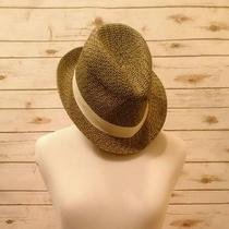 Nwt Express Fedora Black/tan Weave Women's Hat One Size With Cream Ribbon Photo