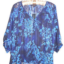 Nwt Express Floral Blue Blouse    -  -    Sz Xs Photo