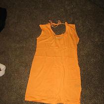 Nwt Express Fluro Tan Light Orang Cotton Blend Scoop Back Slub Knit Dress Small Photo
