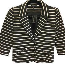 Nwt Express Gray White Career Work Blazer Jacket 3/4 Sleeve Striped Size Xs  Photo
