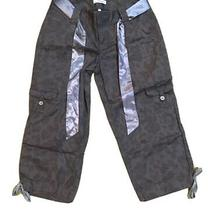 Nwt Express Grey Leopard Spotted Cropped Jogger Pants W/ Shimmer Belt Size 2 Photo