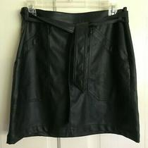 Nwt Express Ladies Faux Leather Black Miniskirt Belt Pockets Size 8 New 49 Photo