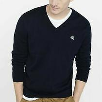 Nwt Express Men Cotton v-Neck Small Lion Sweater Navy Size L Co Photo