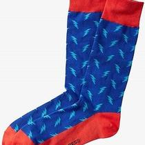 Nwt Express Men' Lightning Bolt Print Dress Socks Blue 2048 822 07 Photo