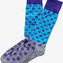 Nwt Express Men' Marl Color Block Polka Dot  Dress Socks Blue 2046 822 05 Photo