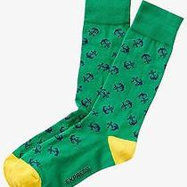 Nwt Express Men's Anchor Print Dress Socks Green 2113 606 07 Photo