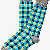 Nwt Express Men's Bright Gingham Dress Socks Blue 2068 822 05 Photo