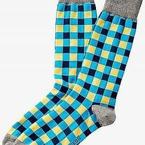 Nwt Express Men's Bright Gingham Dress Socks Blue 2068 822 Photo