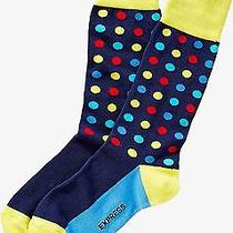 Nwt Express Men's Bright Multicolor Dot Dress Socks Navy 2057 709 07 Photo
