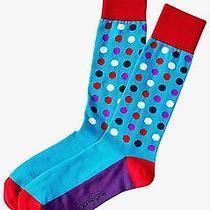 Nwt Express Men's Bright Multicolor Dot Dress Socks Turquoise 2057 828 07 Photo