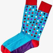 Nwt Express Men's Bright Multicolor Dot Dress Socks Turquoise 2057 828 07 Photo