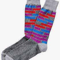 Nwt Express Men's Broken Stripe Dress Socks Purple Iris 2040 770 07 Photo