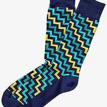 Nwt Express Men's Diagonal Zigzag Dress Socks Verde 2056 606 05 Photo