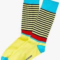 Nwt Express Men's Mixed Stripe Dress Socks Yellow 2109 168 07 Photo