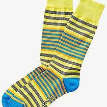 Nwt Express Men's Multicolor Mixed Width Striped Dress Socks Yellow 2058 168 07 Photo