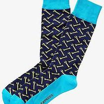 Nwt Express Men's Neon Wrench Print Dress Socks Navy 2079 709 07 Photo