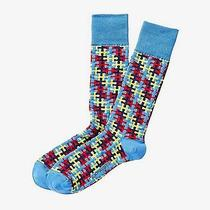 Nwt Express Men's Puzzle Pieces Dress Socks Blue 2142 822 05 Photo