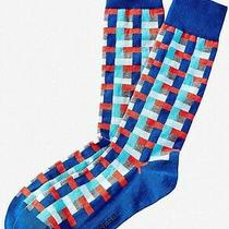 Nwt Express Men's Rectangular Basket Weave Dress Socks Blue 1645 822 Photo