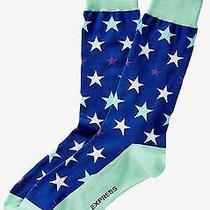 Nwt Express Men's Star Print Dress Socks Blue 2049 828 07 Photo