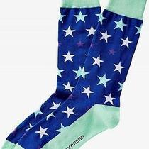 Nwt Express Men's Star Print Dress Socks Blue 2049 828 Photo