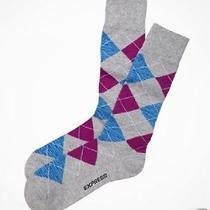 Nwt Express Men's Two Tone Diamond Argyle Dress Socks Pink 1560 279 07 Photo