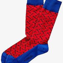 Nwt Express Men's Wrench Print Dress Socks Eastern Red 2072 296 07 Photo