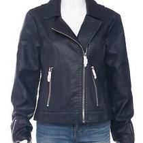 Nwt Express Navy Blue Faux Leather Jacket Large Zip Pockets Biker Moto Coat  Photo