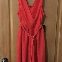 Nwt Express Orange Polka Dot Sleeveless Dress W/tie Size L Orig 79.90 Photo