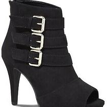 Nwt Express Peep Toe Buckled Booties Size 10 Black High Heel Boots Photo