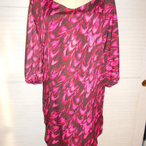 Nwt Express Pink Black Cold Shoulder Shift Dress Size M Photo