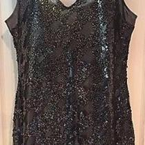 Nwt Express Sequin Black Silver Party Dress Size L Photo