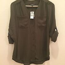 Nwt Express Shirt Blouse Olive Green Xsmall Photo
