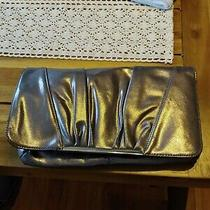 Nwt Express Silver Clutch Evening Bag Snap Close Photo
