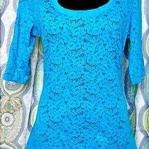 Nwt Express Teal Lace 3/4 Sleeve Shirt Top Stretchy Women's Large Photo