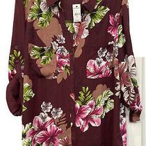 Nwt Express the Portofino Shirt Long  Sleeve Blouse Top Xl Burgundy Floral Photo