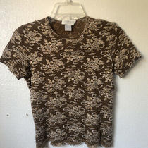 Nwt Express Tricot Size Small S Brown & Gold Career Work Lacey Short Sleeve Top Photo