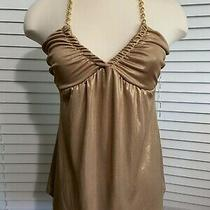 Nwt Express v-Neck Halter Gold Top With Metal Gold Style Chain Xs Photo