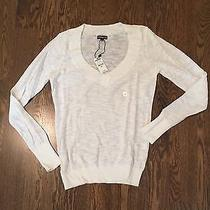Nwt Express v-Neck Sweater - Small White  Photo