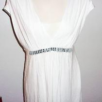 Nwt Express White Rayon Stretch Knit Low Cut Silver Shiny Beads Tunic Top L Photo
