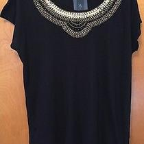 Nwt Express Women's 1x Black Top Embelished With Wood Bead Pattern  Scoop Neck  Photo
