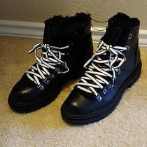 Nwt - Express Women's Black W/ White Laces Faux Fur Lining Boots - Size 6 Photo