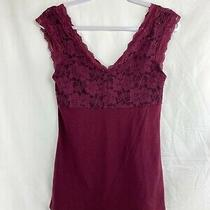 Nwt Express Women's Burgundy Top Size S/p Sleeveless Low Cut Back Lace Detail. Photo