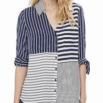 Nwt Express Womens Blue Stripe the Portofino Top Shirt S Photo