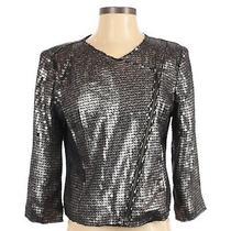 Nwt Express Womens Moto Jacket Small 3/4 Sleeve Gun Metal Sequins Crop Raw Hem Photo